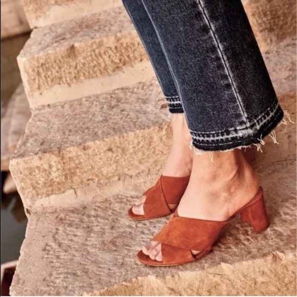 Madewell Shoes - Madewell Greer Mules Suede in Nutmeg, Size 9